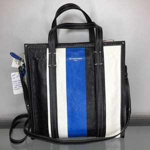 NWT Balenciaga Bazar S Leather Striped Shopper